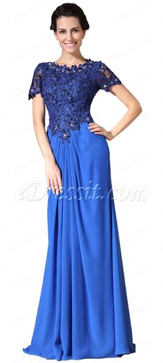 Modest lace top blue mother of the bride dress! #edressit #bluedress #eveningdress #wedding