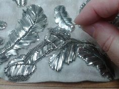 Terry Dresbach - antique silver embroidery technique used for Outlander wedding gown