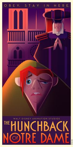 The Hunchback of Notre Dame art deco style poster - by David G. Ferrero -