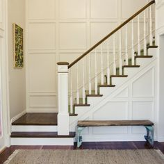 Tiek Built Homes's Design Ideas, Pictures, Remodel, and Decor - page 14 landing & bottom step in wood - carpet starts on main staircase