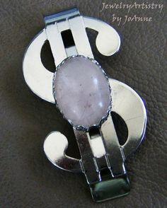Money Clip  Handcrafted Rose Quartz  A Jewelry by JewelryArtistry, $16.98