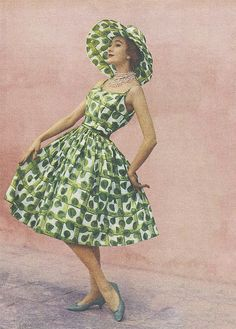 1960s green dress and matching hat #vintage #style #fashion