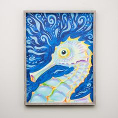 This fun and bright sea horse framed canvas brightens up any room! Hang it in a kids room or bathroom for some added fun! Dolphin Painting, Sea Turtle Painting, Sea Life Art, Sea Art, Mermaid Canvas, Creature Picture, Seahorse Art, Kids Room Paint, Acrylic Canvas