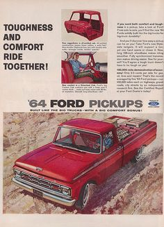 Items similar to 1964 Ford Pickup Truck Vintage Advertisement Print Man Cave Wall Art Gift for Him Auto Shop Wall Decor on Etsy Ford Classic Cars, Classic Chevy Trucks, Classic Auto, Vintage Trucks, Old Trucks, Vintage Ads, Vintage Graphic, Semi Trucks, Vintage Advertisements