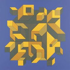'Sarlant', Oil by Victor Vasarely (1906-1997, Hungary)