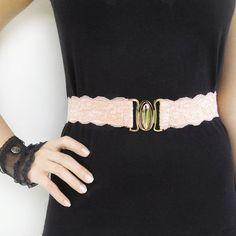 Peach Lace Elastic Belt