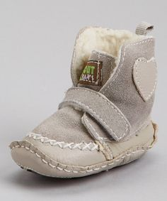 Look what I found on #zulily! Gray Suede Heart Strap Crib Boot by Piccolo Bambino #zulilyfinds