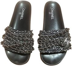 a697e4f1c8e Chanel Black Tropiconic Tweed White Silver with Chains Sandals Mules Slides  Size US 9 Regular (M