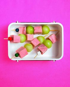 Stick It to You | Martha Stewart Living - Mini kebabs are perfect for little fingers. Try threading cubed ham and sweet melon onto decorative toothpicks or skewers.