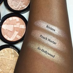 Swatches of @anastasiabeverlyhills highlighters in Riveria Peach Nectar & So Hollywood. #ABHIlluminators   (Reposting as this is one of my most popular pics and there was a typo on the original.  Plus @anastasiabeverlyhills reposted with the incorrect credit. So please let them know so they can change it. Was excited about it until I didn't see my name. )