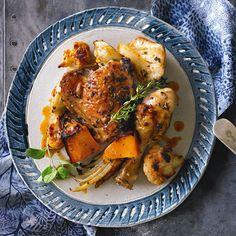 Oregano roasted chicken with pumpkin & cauliflower. A quick mid week roast. Roasted Chicken, Tandoori Chicken, Wine News, Wine Recipes, Gluten Free Recipes, Cauliflower, Pumpkin, Birds, Dishes