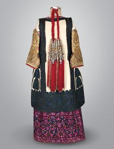 Greece, festive costume from Kifissia, Attica, early century with numerous amulets used to protect the wearer from the Evil Eye. Greek Traditional Dress, Traditional Outfits, Historical Costume, Historical Clothing, Fashion Wear, I Love Fashion, Greek Dress, Vintage Couture, Folk Costume