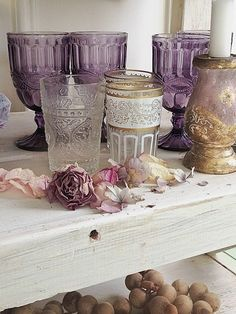 Lavender glasses and roses