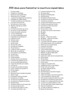 100 ideas para fomentar la escritura espontánea