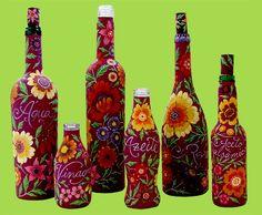 garrafas-decoradas., painted bottle