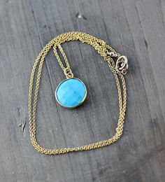 Turquoise Necklace on 14k Gold Fill by true2u on Etsy