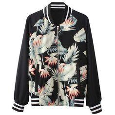 Choies Black Bomber Jacket With Leaf Print ($37) ❤ liked on Polyvore featuring outerwear, jackets, bomber jacket, casacos, coats, black, flight jacket, black flight jacket, blouson jacket and black jacket