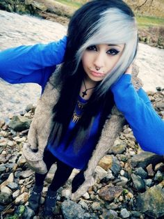 White and blue scene hair