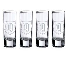 Lillian Rose Monogram D Shot Glasses (Set of 4). Great gift idea and other Monogram letters available.