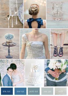Blues, Greys, Silver + Sparkle   Wedding Inspiration