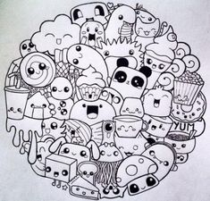 Pin by cikbad on doodles in 2019 doodle art, doodles, kawaii Doodle Art Letters, Cute Doodle Art, Doodle Art Designs, Doodle Art Drawing, Doodle Art Journals, Drawing Ideas, Doodle Monster, Monster Drawing, Kawaii Doodles
