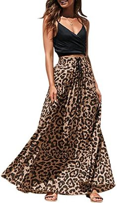 New Womens Maxi Skirt Leopard Print Chiffon Beach Pleated High Waisted A-Line Long Skirts. leopard print sandals ($22.98) from top store findtopgoods