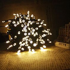 King Ro 8M 60LED Solar String Lights #Christmas Decoration Outdoor Waterproof Lights