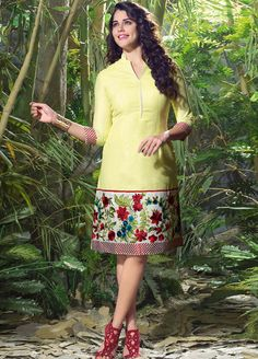 Izabelle Liete wearing this #Splendid Yellow Colour #Linen #Kurti.