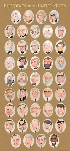 The 43 presidents of the United States in my faux cut-out caricature style. I started this project more than a year ago hoping to have them all finished. Caricature Artist, Caricature Drawing, Character Poses, Character Design, Presidential Portraits, History Posters, Hand Drawn Type, Celebrity Caricatures, Drawing People