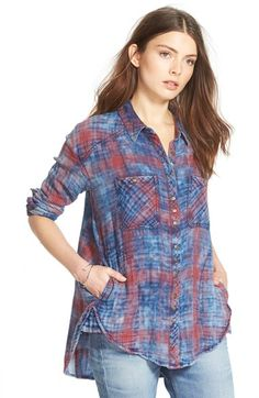 Free+People+Faded+Plaid+Double+Cloth+Shirt+available+at+#Nordstrom