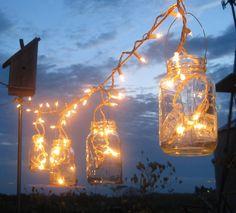 Backyard Lighting - icicle lights in mason jars