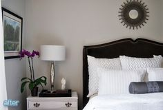 Love the white nightstands with the dark bed frame!