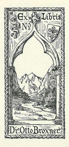 Ex libris Dr. Otto Broxner black and white arches bookplate