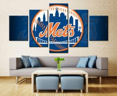 5 Piece New York Mets Team Baseball Canvas Painting Frames - It Make Your Day New York Mets Logo, Mets Team, Baseball Canvas, Canvas Wall Art, Wall Art Prints, Mets Baseball, Sports Wall, Home Decor Paintings, Wall Decor