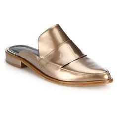 Tibi Denni Meatllic Leather Mule Loafers