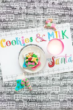 Free Printable (+ Colorable!) Milk + Cookies Placemat for Santa