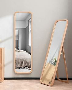 Full Length Floor Mirror Fresh Tinytimes Wooden Full Length Mirror Floor Mirror with Stand Beech Rounded Corner Rustic Mirror Free Standing or Wall Mounted for