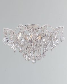 Maria Theresa Hand-Cut Clear Crystal Semi Flush at Horchow. Chandelier In Living Room, Diy Chandelier, Chandeliers, Gold Ceiling Light, Crystal Pendant Lighting, Maria Theresa, Diy Crystals, Clear Crystal, Outdoor Lighting