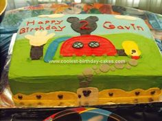 Homemade Mickey Mouse Clubhouse Birthday Cake: I used a rectangle pan for this Mickey Mouse Clubhouse Birthday Cake and doubled the layers. I used a butterless buttercream recipe: 2 cups Crisco, 1 teaspoon