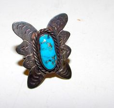 Native American Navajo Old Pawn Sterling Silver Kingman Mine Turquoise Butterfly Ring Size 6