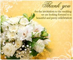 Dgreetings....    Thanks for ur wedding invitation....