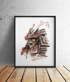 268 favor - Samurai Armour Japanese Warrior Mask Drawing Japan by SamuraiArt Ink Painting, Watercolor Paintings, Abstract Watercolor, Art Paintings, Papel Fabriano, Original Art, Original Paintings, Mask Drawing, Japanese Warrior
