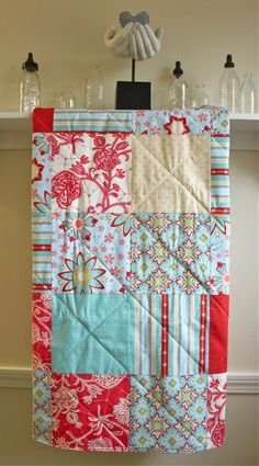 Ready To Ship Modern Baby Quilt - Delighted - in Aqua, Red, Blue and Cream