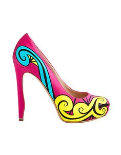 What a bold Printed Satin Pump... would look fab for spring!