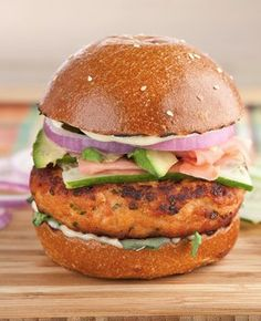 California Salmon Burger @Leticia Reyes I could use some salmon cakes!