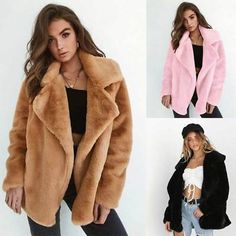 Occident Womens Mid Long Faux Fur Collar Warm Thicken Outwear Coat Parka Loose