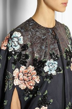 Biyan | Cana embellished embroidered silk-blend organza cape | Navy silk-blend organza | Hook fastenings along front | 60% silk, 24% acetate, 16% polyester