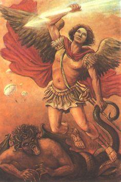 São Miguel Arcanjo Príncipe dos anjos   Travou-se um combate no Céu: Miguel e os seus Anjos lutaram contra o Dragão. O Dragão e os seus anjos lutaram também, mas foram derrotados e perderam o seu lugar no Céu para sempre. Foi expulso o enorme Dragão, a antiga serpente, aquele que chamam Diabo e Satanás, que seduz o universo inteiro foi precipitado sobre a terra e os seus anjos foram precipitados com ele.