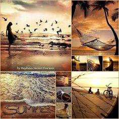'' The Story of a Summer Sunset '' by Reyhan Seran Dursun Summer Sunset, Summer Fun, Beautiful Collage, Beautiful Pictures, Mood Colors, Colours, Color Collage, Colour Board, Jolie Photo