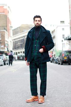 Are These The World's Best Dressed Men? #refinery29  http://www.refinery29.com/mens-fashion-week/street-style#slide6  Londoner dandies can sport tartan like no other. Photographed by Victoria Adamson